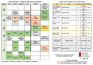 Horarios ICM 2020 -2021