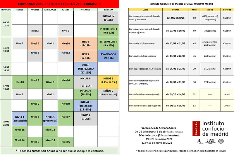 Horarios y precios cursos 2º cuatrimestre ICM